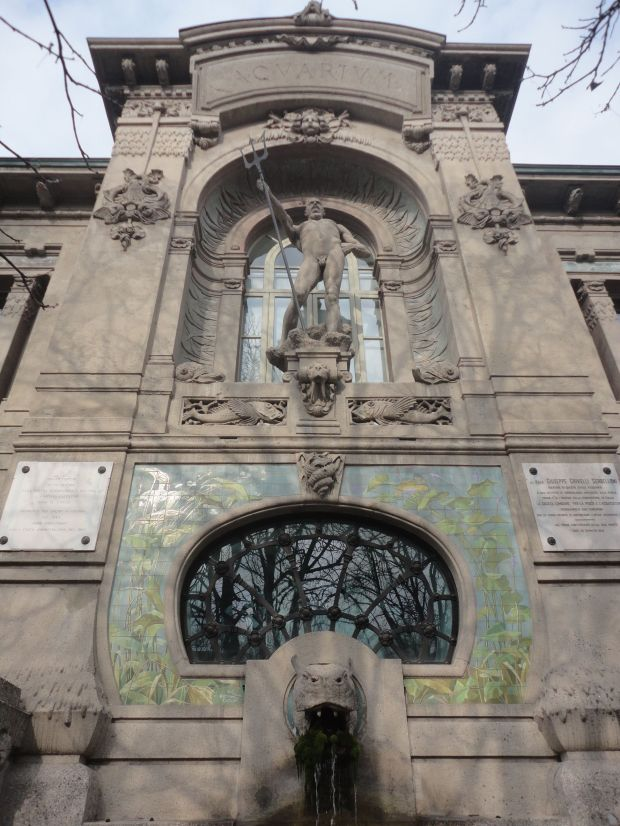 Neptune, God of the Sea, at the entrance. Civic Aquarium, Milan